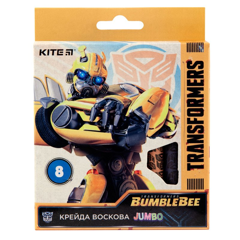 Мелки восковые Jumbo, 8 цветов, Kite Transformers BumbleBee Movie TF19-076